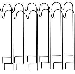Ashman Shepherd's Hooks, Black, Set of 12 made of Premium Metal for Hanging Solar Lights,  ...