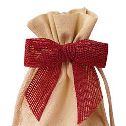 Pre-Tied Red Jute Burlap Bow – 3″ Wide, Wired Craft Ribbon Christmas Bow, Wedding Em ...