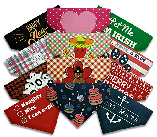 Dog Lover Gifts Lovers Full Year Holidays Small Bandanas 12 Pack Birthday Halloween