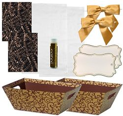 Pursito Gift Basket Making Kit Includes: Chocolate Scroll Market Tray, Crinkle Cut Paper, Cellop ...