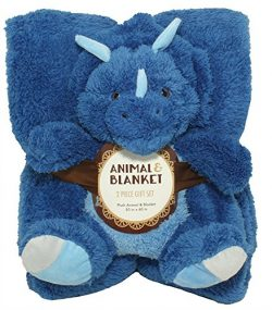 Silver One Sherpa Plush Stuffed Animal and Throw Blanket 2 Peice Gift Set for Kids/Children | 50 ...