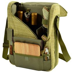 Picnic at Ascot – Wine Carrier Deluxe with Glass Wine Glasses and Accessories for Two, Oli ...