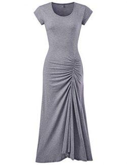 NEARKIN (NKWBD907 Womens Mermaid Style Shirring Maxi Dress Gray US S(Tag Size M)