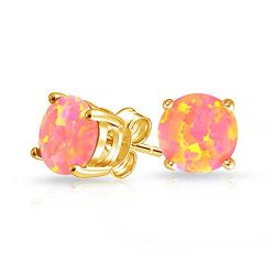 Basket Set Simulated Pink Opal Stud Earrings Gold Plated (6mm)