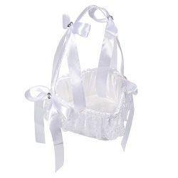 Juvale Flower Girl Basket – White Flower Basket, Heart-Shaped Wedding Basket Matrimony Processio ...