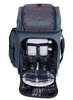 Picnic Backpack – Lunch Set for 4, with Insulated Cooler Compartment, Detachable Wine Bott ...