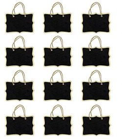 Miraclekoo 12 Double Sided Fancy Rectangle Rope Hanging Mini Chalkboard for Wedding Gift Tags Pa ...