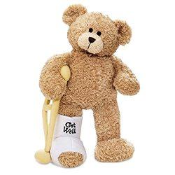 Gund Break a Leg Jr., Broken Leg Bear Get Well Soon Teddy Bear with a Cast, Crutch and Signature ...