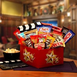Big Screen Movie Theme Snack Care Package with Red Box Gift Card