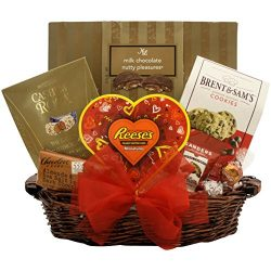 GreatArrivals Valentine's Day Gourmet Gift Basket Totally Nuts Over You, Red & Gold, 3 ...