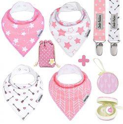 BabyBandana DroolBibs by Dodo Babies For Girls + 2 Pacifier Clips + Pacifier Case in a Gift Ba ...