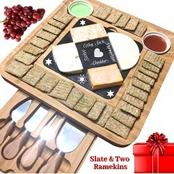 Slate Cheese Board Set with 4 Knife, 2 Bowl, Chalk, Bamboo Wood Charcuterie Platter & Meat S ...