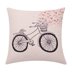 BreezyLife Valentines Day Decorative Pillow Cover Bike with Hearts Basket Throw Pillow Case Spri ...