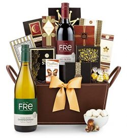 GiftTree Gourmet Gathering Gift Basket with Non-Alcoholic Wine | FRe Non-Alcoholic Wine Two Bott ...