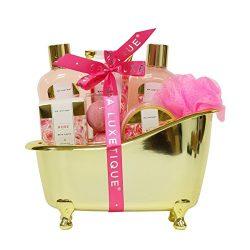 Spa Luxetique Romance Bath Gift Set in Gold Bath Tub, Luxurious Rose 8 pc Bath and Body Spa Trea ...