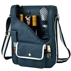 Picnic at Ascot Wine and Cheese Cooler Bag Equipped for 2 with Glasses, Napkins, Cutting Board,  ...