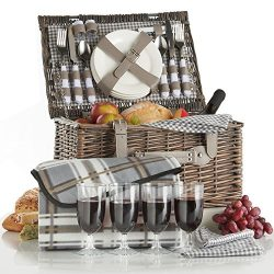 VonShef Deluxe 4 Person Traditional Wicker Picnic Basket Hamper with Cutlery, Plates, Glasses, T ...