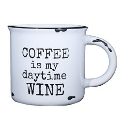 Coffee Is My Daytime Wine – Funny Coffee Mug for Women – 15 oz Ceramic Campfire Mug  ...