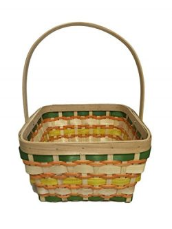 Wooden Wicker Basket with Fold Down Handle, Perfect for Thanksgiving Gifts