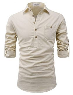 NEARKIN (NKNKN450 Adorable Mens Roll-Up Sleeve Design Urbane Casual Cotton Shirts Beige US XL(Ta ...