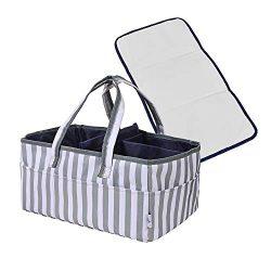 Baby Diaper Caddy Organizer – Portable Large Nursery Diaper Tote Bag | Storage Bin for Cha ...