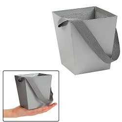Fun Express SILVER CARDBOARD BUCKET WITH RIBBON HANDLE (6 PIECES)