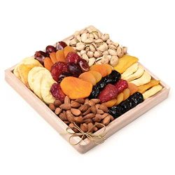 Milliard Dried Fruit & Nut Gift Platter Arrangement on Pine Wood Tray for year-round and Hol ...