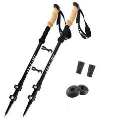 HETTO 1 Pair 7075 Aluminum Walking Stick Hiking Poles Trekking Poles Collapsible Lightweight Adj ...
