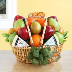 Organic Market Fruit & Cheese Gift Basket