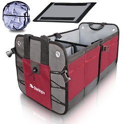Starling's Car Trunk Organizer Durable Collapsible Adjustable Compartments, Bordeaux