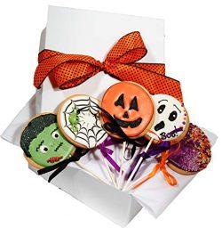 HALLOWEEN gift basket assorted hand decorated vanilla sugar cookies set of 5 Halloween designed  ...
