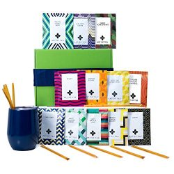Tea Gift Set for Tea Lovers – Includes Double Insulated Tea Cup 12 Organic Handcrafted Tea ...