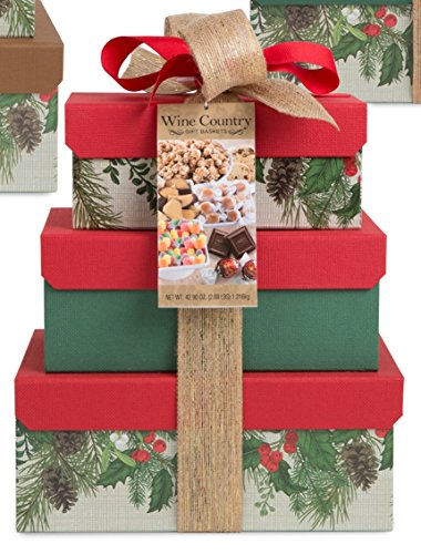 Festive Holly Snacks 3-box Tower Gift Baskets – Assorted Colors, 42.8 oz (Red or Green)