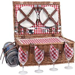 Sunflora Wicker Picnic Basket for 4 Persons Set with Large Insulated Compartment Premium Stainle ...
