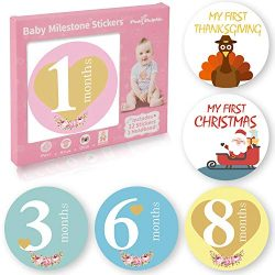 32 Pack Baby Monthly Milestone Stickers for Boys & Girls First Year (Free Headband Included) ...