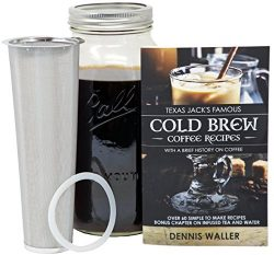 Cold Brew Coffee Maker Kit |Large 2 Quart/Half Gallon|130pg 60+ Recipes and Instruction Book! Qu ...