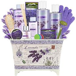 Lavender Spa Gift Basket for Women – Spa Basket with Lavender Essential Oil Aromatherapy G ...