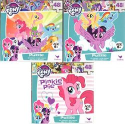 My Little Pony Bundle of 3 48 Pieces in a Really Cool Cube Shaped Box. Great Starter Puzzles for ...