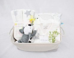 8-Piece Baby Shower Gift Basket Set – Organic Cotton Bamboo Muslin Swaddle, Plush Animal P ...