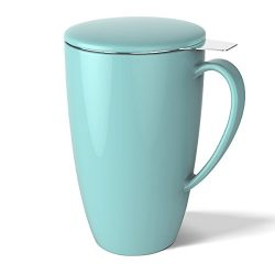 Sweese 2101 Porcelain Tea Mug with Infuser and Lid, 15 OZ, Turquoise