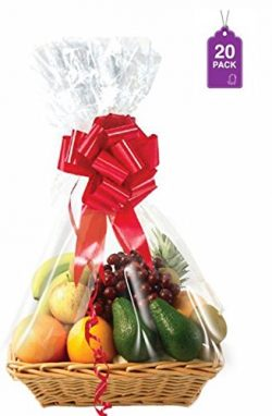 """Clear Basket Bags 20 Pack, Large Cellophane Wrap for Baskets and Gifts 24""""x 30"""""""