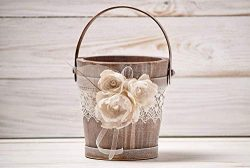 Rustic Flower Girl Basket, Wedding Bucket with Ivory Organza, Rustic Style Driftwood Flower Girl ...