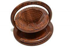 Thanksgiving Dinner Gift Idea Wooden Collapsible Fruit Basket 2- Leaf Design Valentine Day Gift  ...
