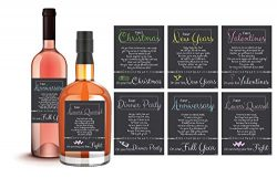 6 Happy Couple Wedding Milestones Gift Wine Bottle Labels or Sticker Covers, Bridal Shower, Firs ...