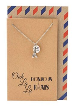 Quan Jewelry Eiffel Tower Travel Necklace, Gifts for Travelers, Bonjour Paris Inspirational Card ...