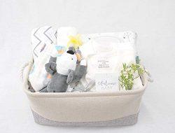 8-Piece Baby Shower Gift Basket Set – Organic Cotton Bamboo Muslin Swaddle, Plush Animal P ...
