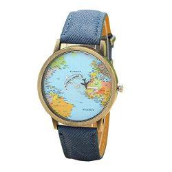 Clearance Watch Daoroka Fashion Global Travel by Plane Map Women Girl Dress Watch Denim Fabric B ...