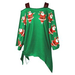 FEITONG Fashion Women Christmas Santa Claus Print Lace Cold Shoulder Irregular T-Shirt(X-Large,G ...