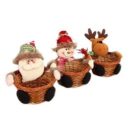 Euone  Candy Basket, 3 PCS Christmas Candy Storage Basket Decoration Santa Claus Storage Basket Gift