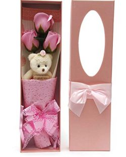 Adabele Gifts I Love You Pink Flower Bouquet Scented Soap Roses with Cute Teddy Bear Anniversary ...